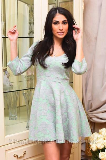 Платье из неопрена с рукавом 3/4 ( 3 цвета). д283