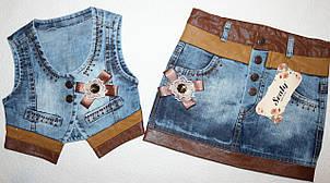 Джинсовая жилетка+юбка  5,6 лет