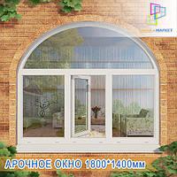 Трехстворчатое металлопластиковое окно с аркой Киев, фото 1
