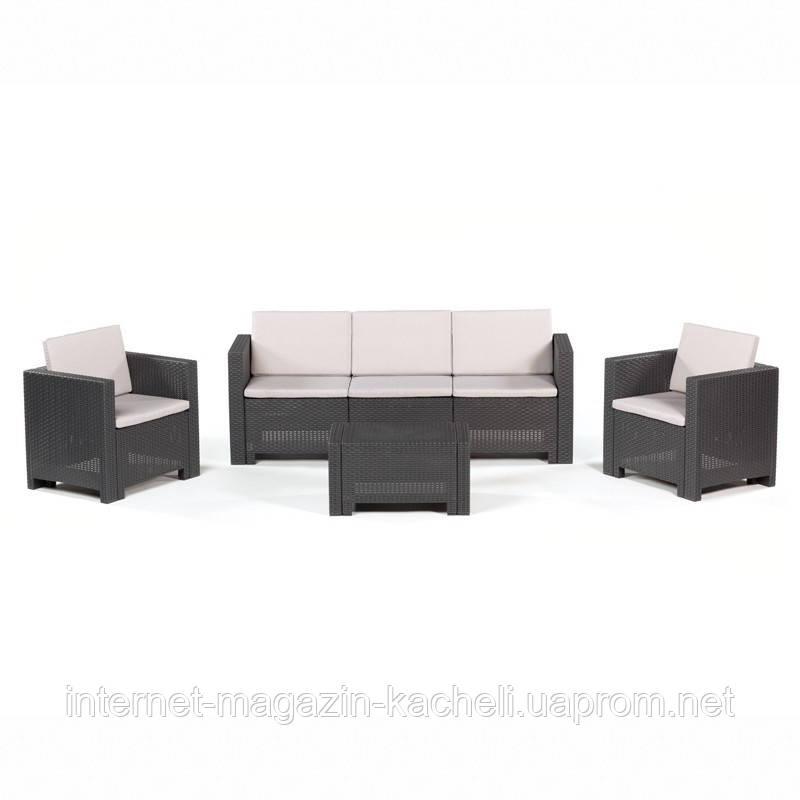 Комплект мебели из искусственного ротанга коричневый COLORADO-3