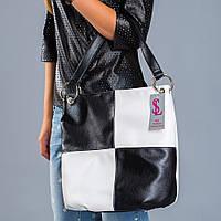 Белая сумка-мешок с черными вставками