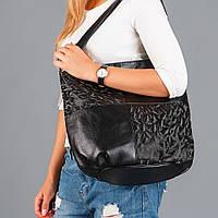 Черная сумка женская мягкая мешок с вставкой 3D