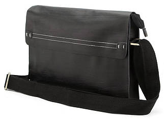 Мужская кожаная сумка горизонтальная формата А4 черная