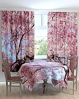 Фотошторы и скатерть на кухню САКУРА Код: ART 0476