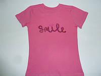 Розовая футболка с пайетками Smile, фото 1