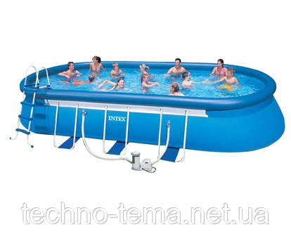 Бассейн овальный надувной  Oval Frame Pool Intex 610х366х122 см (28194) (54934)