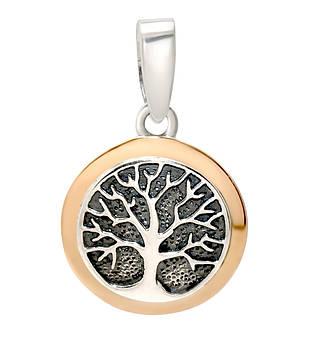 Серебряный кулон подвеска с золотом Древо жизни, Дерево жизни