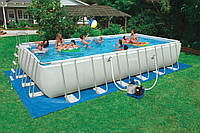 Каркасный бассейн Intex 28362 Ultra Frame Rectangular Pool (732 x 366 x 132 см.) +песочный насос (54984)