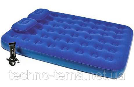 Надувний матрац з ручним насосом і двома подушками Bestway 203х152х22 см (67374)