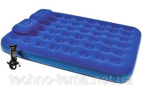 Надувной матрас с ручным насосом и двумя подушками Bestway 203х152х22 см (67374)