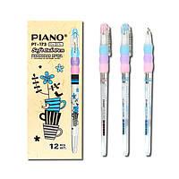 Ручка Piano синяя с корпусом в цветочек и гриппом (резиновой вставкой) из 3-х частей, масляная (шариковая)