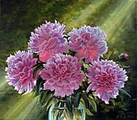 Картина по номерам Роспись на холсте Розовые пионы в вазе KH1119 40*50 см
