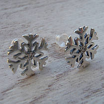 """Серебряные серьги """"Снежинки"""" с фианитами, фото 3"""