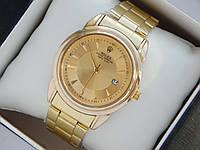 Чоловічий кварцевий наручний годинник Rolex на металевому ремінці з датою, фото 1