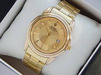 Мужские кварцевые наручные часы Rolex золото на металлическом браслете с датой, фото 1