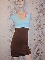 Платье коричнево-голубое S. XS