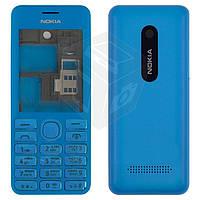 Корпус для Nokia Asha 206 с клавиатурой, голубой, оригинальный