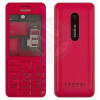 Корпус для Nokia Asha 206 с клавиатурой, красный, оригинальный