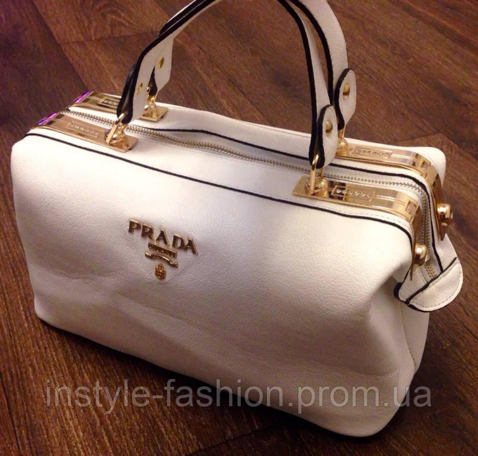 920e5555cf6e Сумка Prada белая эко-кожа: купить недорого копия продажа, цена в ...