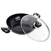 Сковорода -вок индукционная 28 см (алюминий+мрамор)  Kamille 4258MR