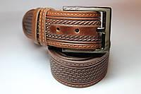 Ремень кожаный 'UniversalBrown' 45 мм светло-коричневый с узором
