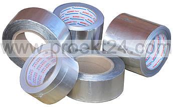 Скотч 50 мм (40 п.м.) фольгированный алюминиевый армированный скотч AL+PET
