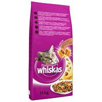Whiskas сухой корм с курицей для взрослых кошек 14 кг