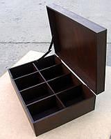 Шкатулка для пакетиков чая 8 ячеек, коричневая