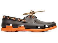Резиновые кроксы мужские Crocs (крокс) темно-коричневые
