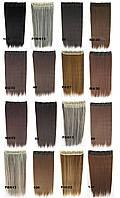 Накладные термо волосы для наращивания на заколках, затылочная прядь, прямые