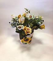Букет роз искусственный в вазоне, Н22 см, Подарки и сувениры, Днепропетровск