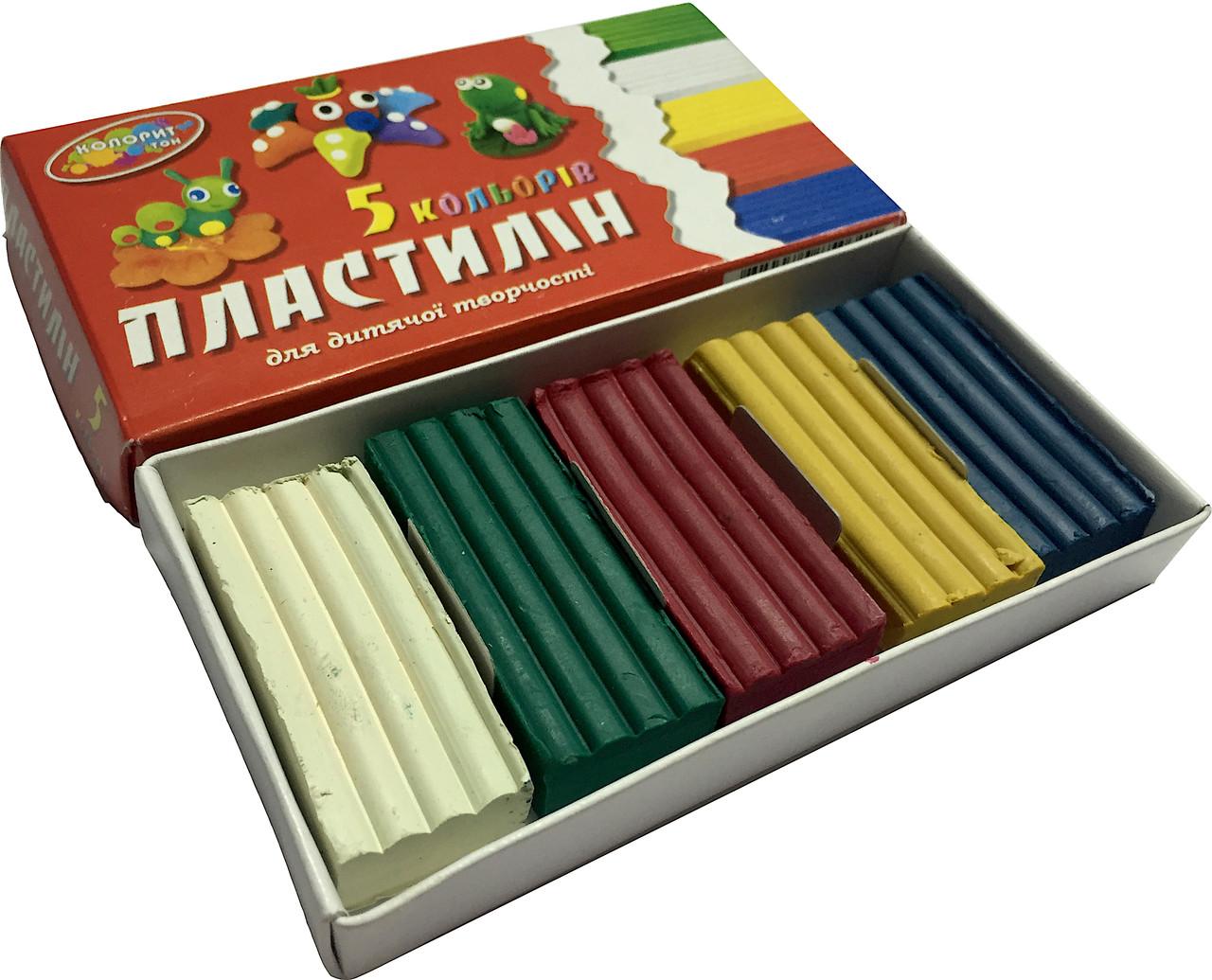 Пластилин детский ЛЮКС КОЛОР 5 цветов, для творчества