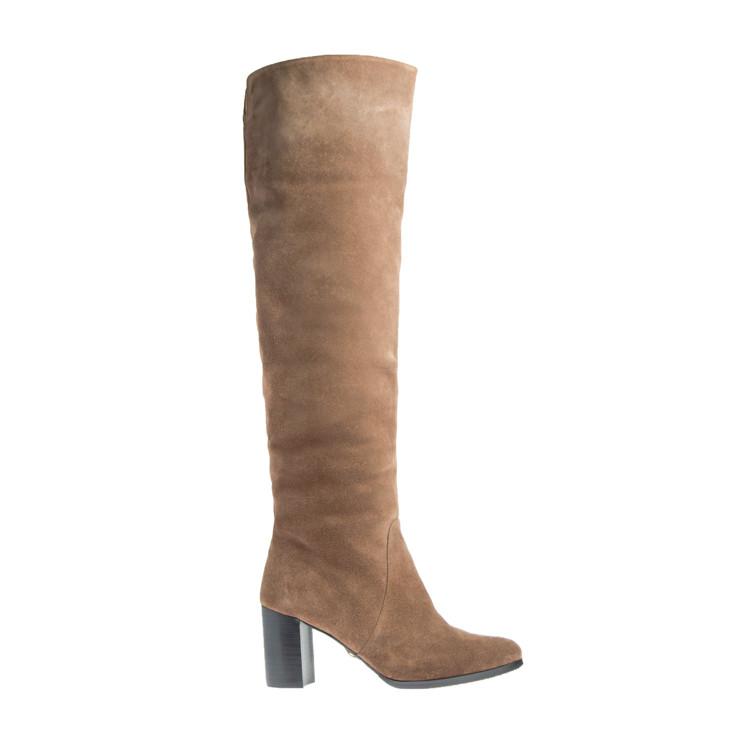 Ботфорты сапоги женские зимние из натуральной замши и натурального меха на каблуке коричневые