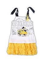 Нарядное (лето) платье платье белое(низ - желтая юбка-цветы) со стразами дев. белый с синим и желтым 95%коттон