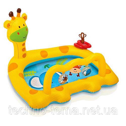 Надувной бассейн  детский, жираф, 2 кольца INTEX 112х91х72 см (57105)