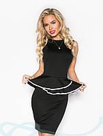 Изящное платье с двойной баской- 2 цвета S M L