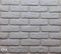 """Декоративная гипсовая плитка, кирпич """"Бостон"""" (белая), искусственный камень"""
