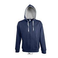 Толстовка(куртка) на молнии с капюшоном SOUL MEN Sol's (Солс), белая, синяя, кобальт, фото 1
