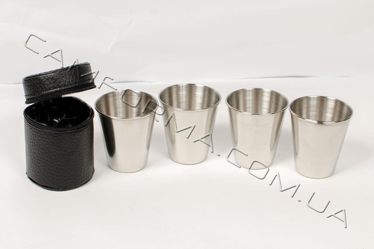 Стопки в наборе 4 шт серебристые в чехле арт(PM-14)