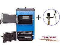 Стальной котел на твердом топливе+регулятор тяги Spark-Heat (Спарк Хит) 14 кВт