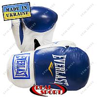 Боксерские перчатки кожаные Everlast, 10oz, 12oz. Синие Взрослая, Лев Спорт, 12oz, Украина