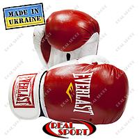 Боксерские перчатки кожаные Everlast, 10oz, 12oz. Красные
