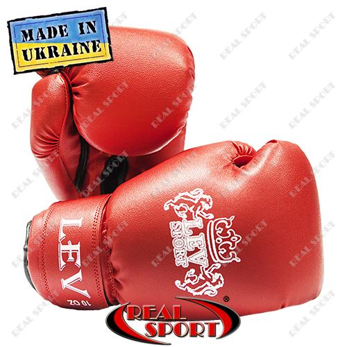 Боксерские перчатки Лев кожзам 10oz, красный.