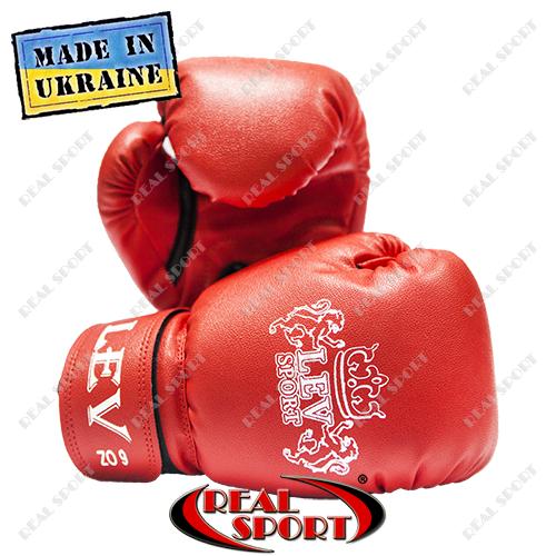Боксерские перчатки детские Лев кожзам 6oz, красные