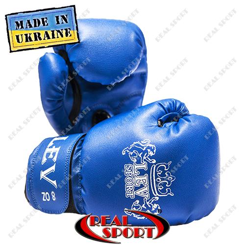 Боксерские перчатки детские Лев кожзам 8oz, синие.