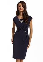 Женское летнее платье-футляр темно-синего цвета с коротким рукавом. Модель 210066 Enny, весна-лето 2016.