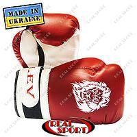 Боксерские перчатки детские Лев, кожзаменитель, красно-белые. Размер S, M.