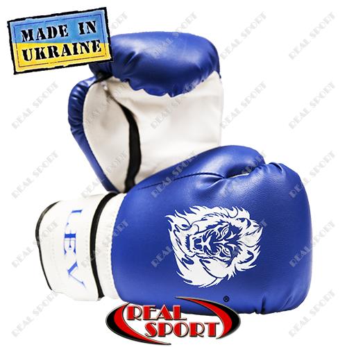 Боксерские перчатки детские ЛЕВ, кожзаменитель, сине-белые