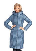 Пуховик пальто женский стеганый с капюшоном Evacana перламутровое на молнии приталенное под пояс
