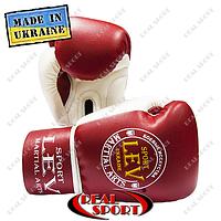 Боксерские перчатки Лев Спорт PU Элит 10oz, 12oz красно-белые.